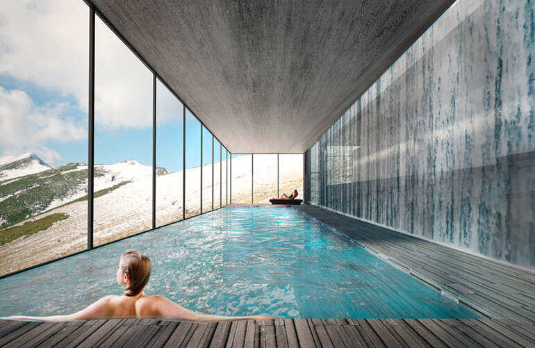 spa area with pool in mountains 02